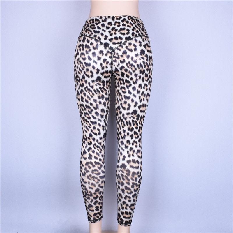 High Waist Leopard Leggings, Women's Casual Legging 17