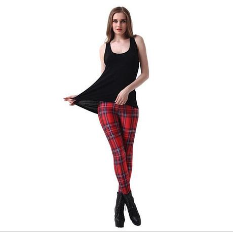 Plaid Women's Sexy Slim Leggings,Large Sizes, Plaid Full Length Pants Variation 1