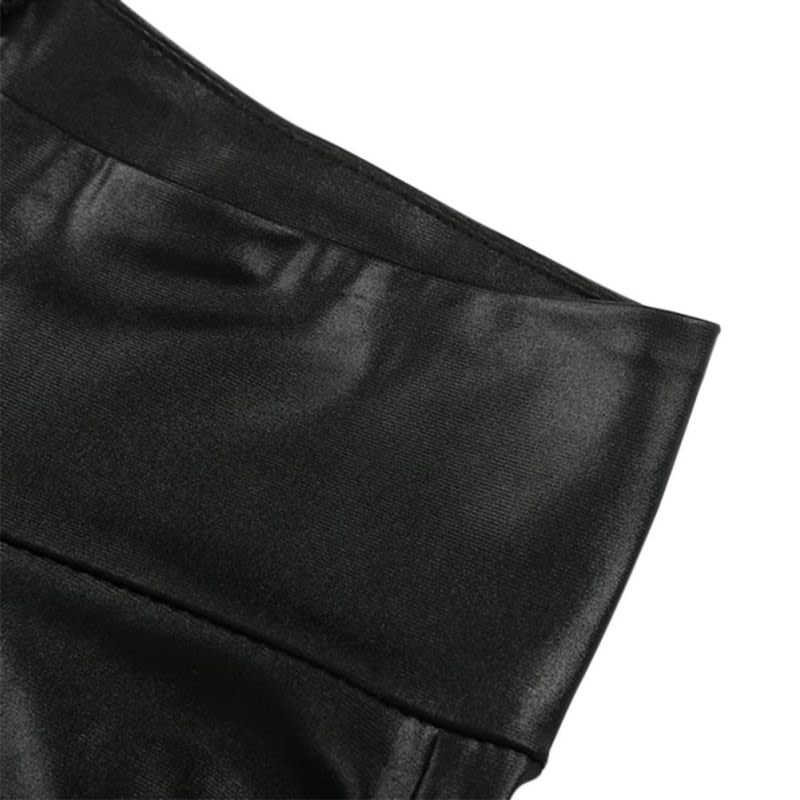 Black Sexy Women's Leggings, Thin Faux Leather Stretchy Leggings, Back Zipper Push Up Leggings 9