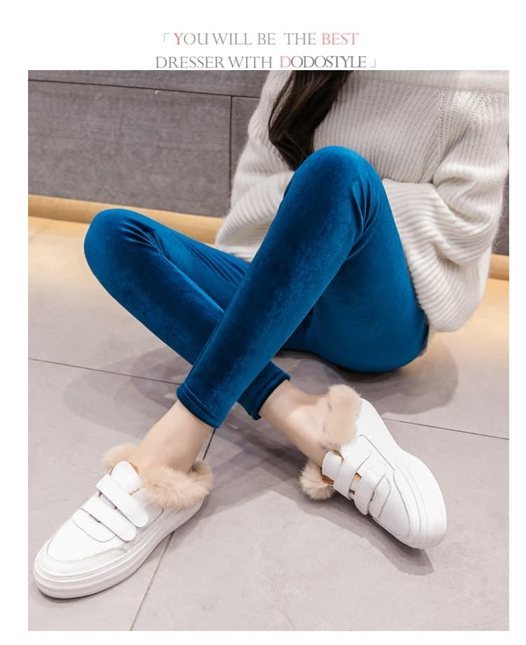 New Velour Thin Women's Leggings, Solid Color, High Waist Fashion Leggings 24