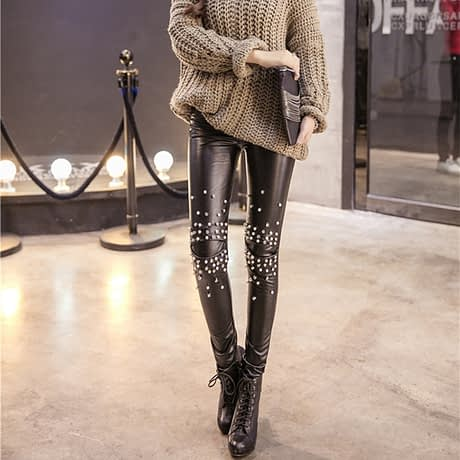 PU Leather Leggings, Women's Sequins Tide Punk Leggings, Rivets, Punk Leggings 1