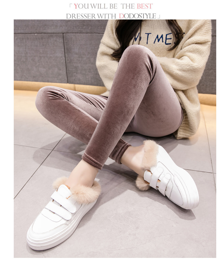 New Velour Thin Women's Leggings, Solid Color, High Waist Fashion Leggings 28