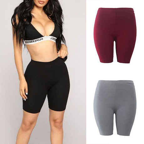 Women's Sport Fitness Leggings, Above Knee, High Waist, Workout Or Bike Shorts 2
