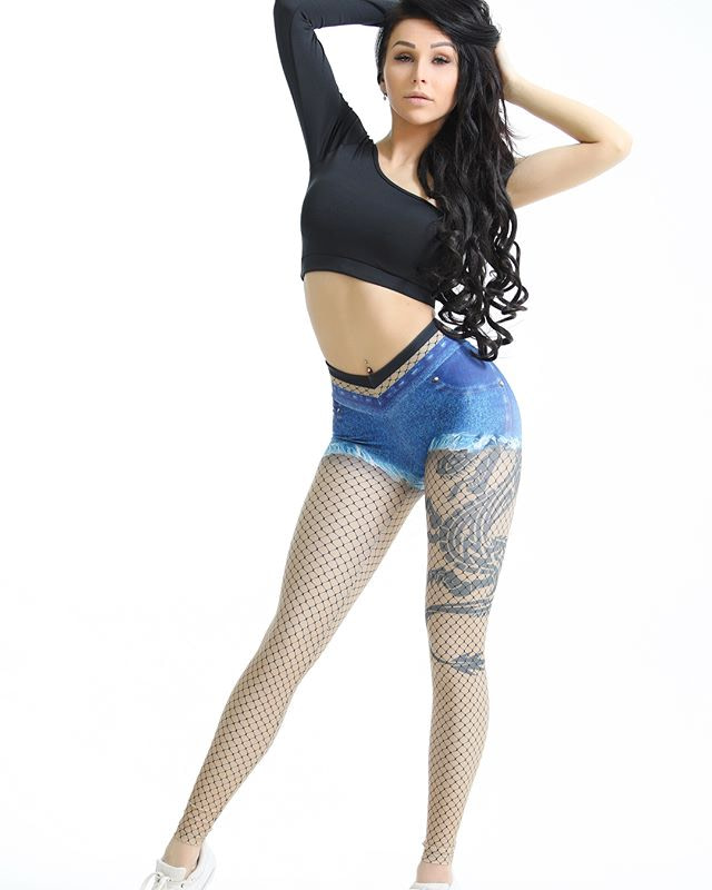 Women's Jeans Pattern Leggings, Off The Wall 3D Imitation Cowboy Printing Legging 6
