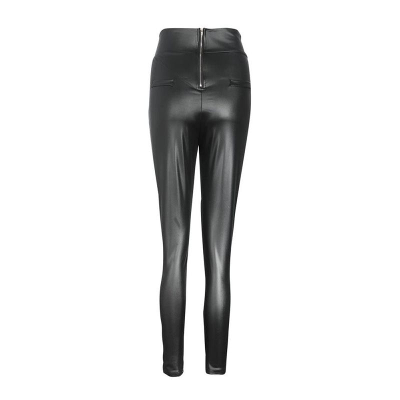 Black Sexy Women's Leggings, Thin Faux Leather Stretchy Leggings, Back Zipper Push Up Leggings 7