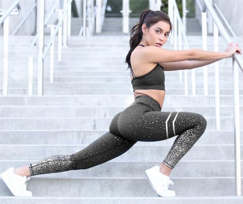New Stretch Bronzing Print Leggings, Women Workout Leggings, High Waist Pants 13