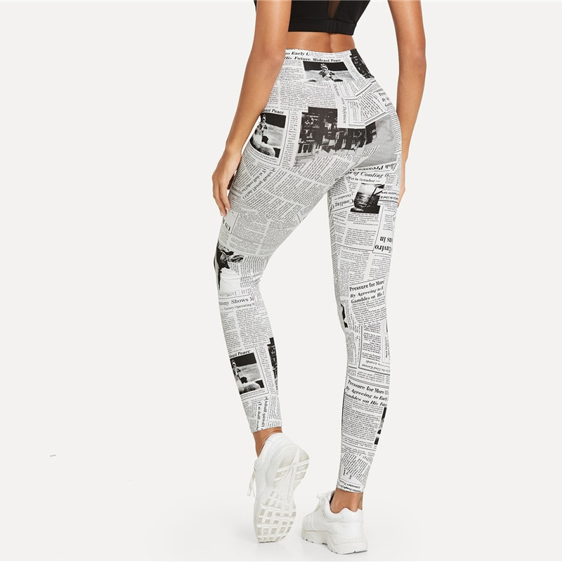 Black And White, High Street Newspaper Letter Print Street Wear Leggings, Women's Sexy Casual Leggings 17