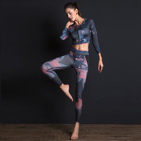 New Sport Suit Print Fitness Suit Leggings Breathable Yoga Set 2 Piece Zipper Sportswear T-shirt Sport Pants Tracksuit For Women