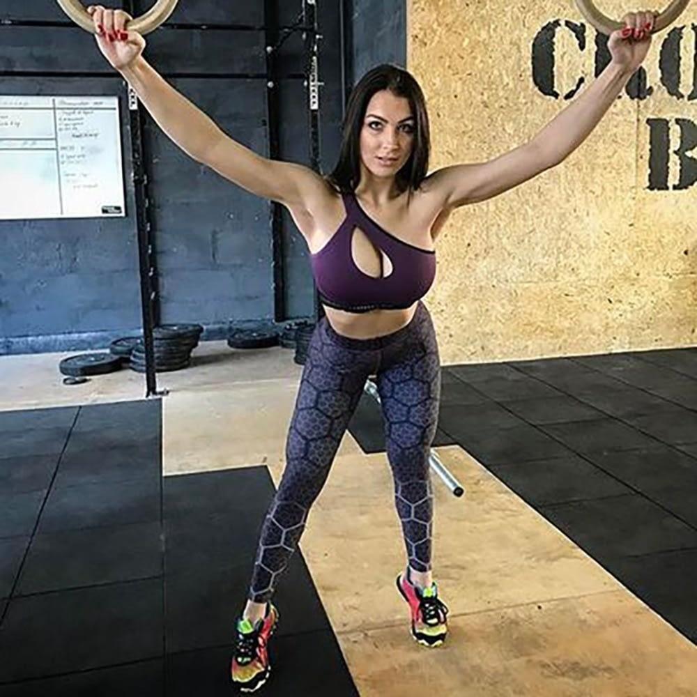 New Sports Leggings, Women's Sportswear Purple Honeycomb Pattern, Polyester High Waist Leggings 7