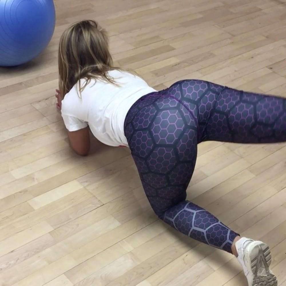 New Sports Leggings, Women's Sportswear Purple Honeycomb Pattern, Polyester High Waist Leggings 10