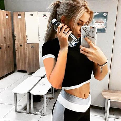 2Pcs Womens Compression Fitness Leggings Running Sport Short Sleeve Yoga Set Gym Workout Wear Top Pants Yoga Suit 3