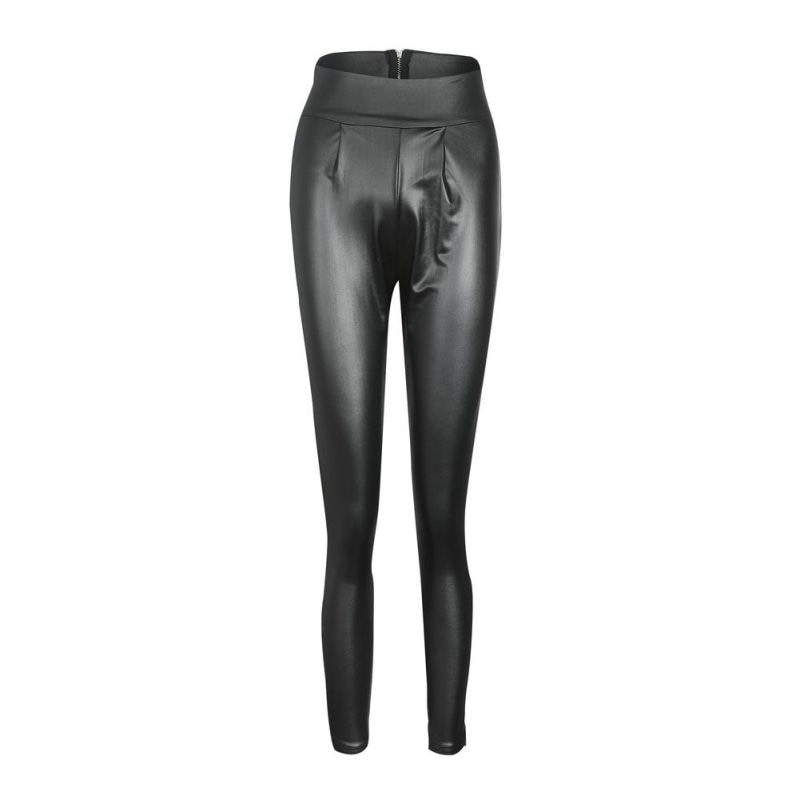 Black Sexy Women's Leggings, Thin Faux Leather Stretchy Leggings, Back Zipper Push Up Leggings 6