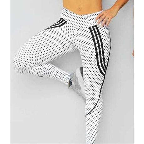 2 Styles, Women's Spot Printing , High Waist Leggings, Sportswear Elastic Force  Leggings 1