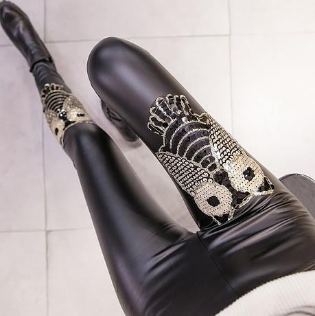 PU Leather Leggings, Women's Sequins Tide Punk Leggings, Rivets, Punk Leggings 2