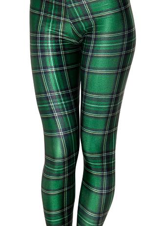 Plaid Women's Sexy Slim Leggings,Large Sizes, Plaid Full Length Pants 1