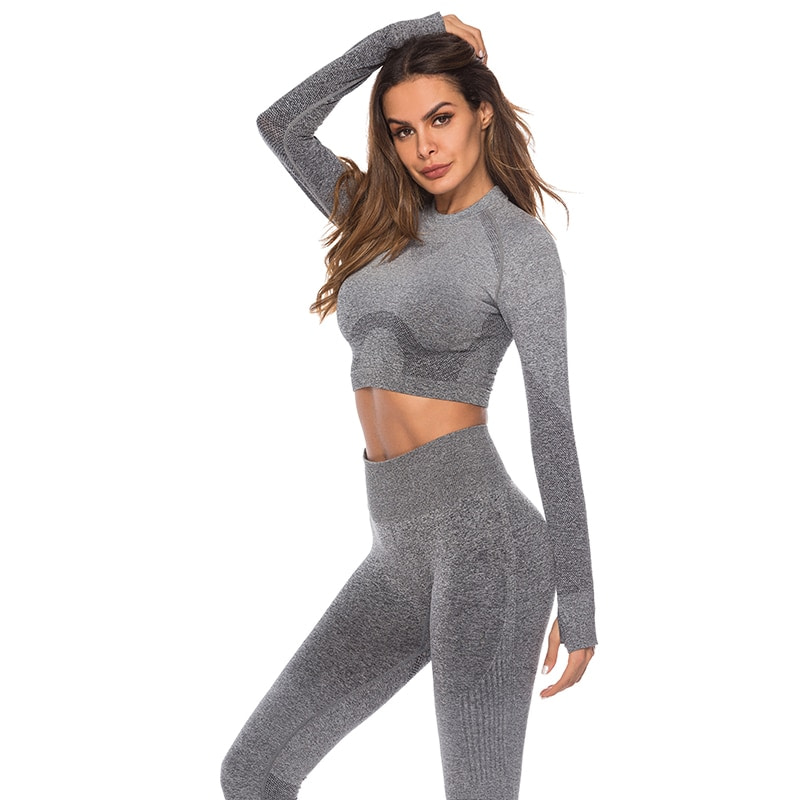 Seamless High Waist Quick-Drying Breathable Stretch Sets Fitness Push Up Female 2 Piece Set Gradient Color Elastic Clothes Sets 19