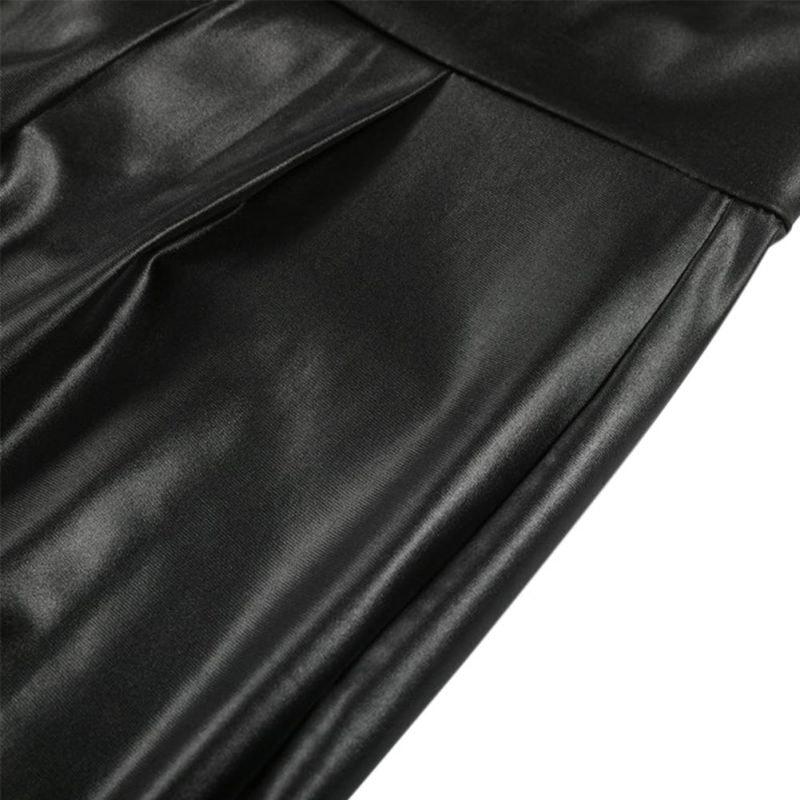 Black Sexy Women's Leggings, Thin Faux Leather Stretchy Leggings, Back Zipper Push Up Leggings 10