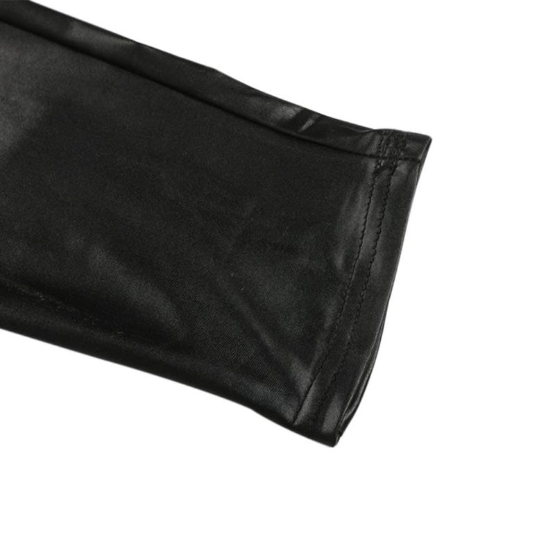 Black Sexy Women's Leggings, Thin Faux Leather Stretchy Leggings, Back Zipper Push Up Leggings 11