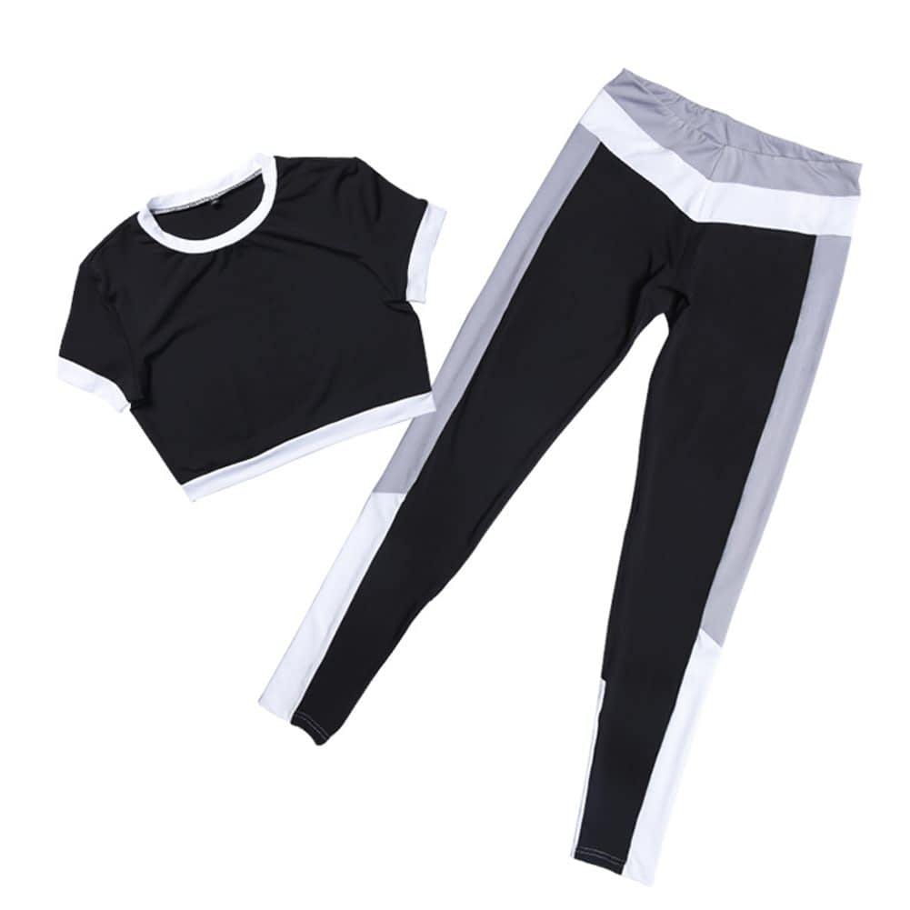 2Pcs Womens Compression Fitness Leggings Running Sport Short Sleeve Yoga Set Gym Workout Wear Top Pants Yoga Suit 7