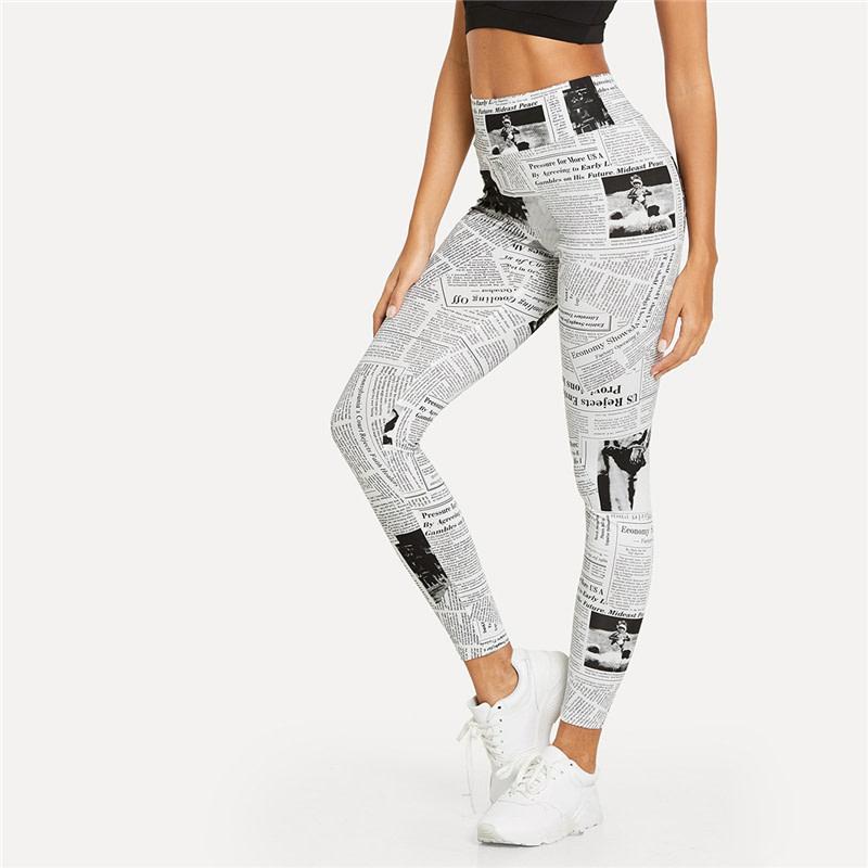 Black And White, High Street Newspaper Letter Print Street Wear Leggings, Women's Sexy Casual Leggings 15