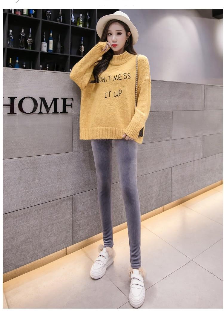 New Velour Thin Women's Leggings, Solid Color, High Waist Fashion Leggings 17