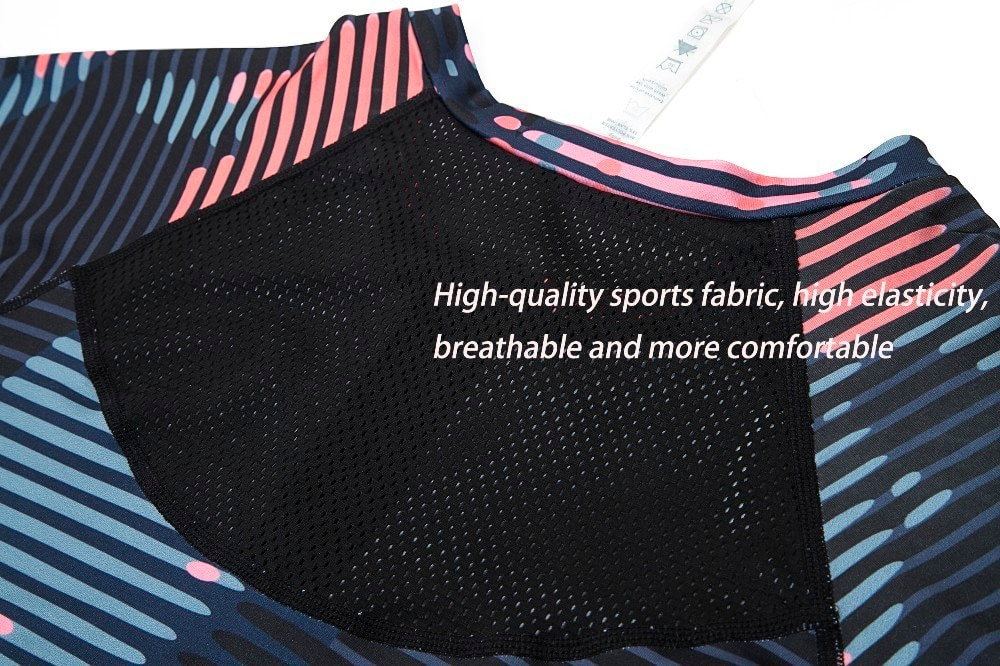 New Sport Suit Print Fitness Suit Leggings Breathable Yoga Set 2 Piece Zipper Sportswear T-shirt Sport Pants Tracksuit For Women 16