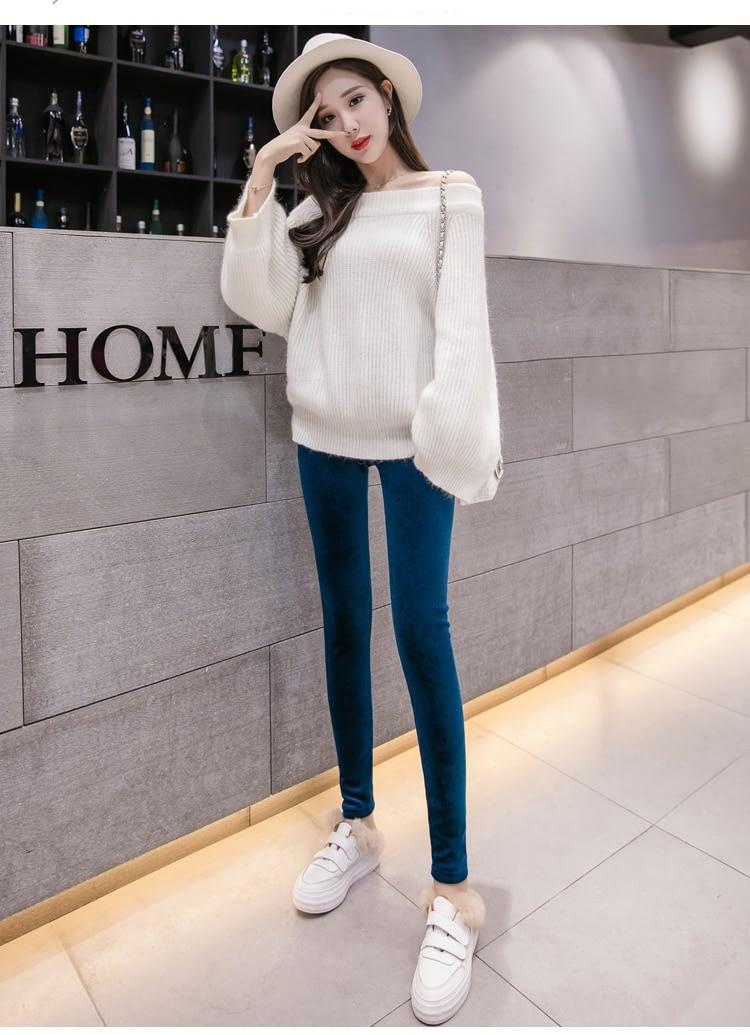 New Velour Thin Women's Leggings, Solid Color, High Waist Fashion Leggings 21