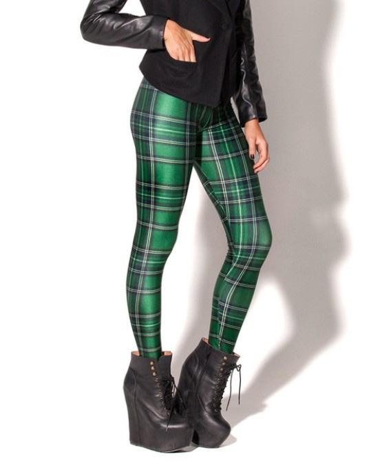 Plaid Women's Sexy Slim Leggings,Large Sizes, Plaid Full Length Pants 21