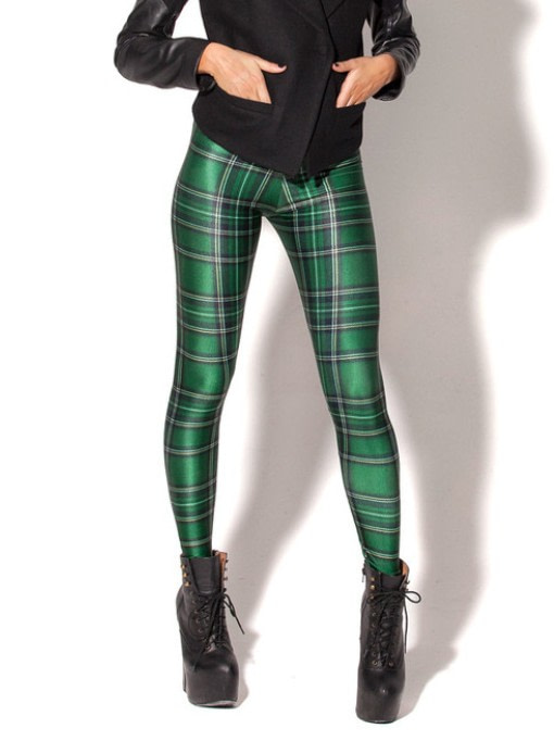 Plaid Women's Sexy Slim Leggings,Large Sizes, Plaid Full Length Pants 20