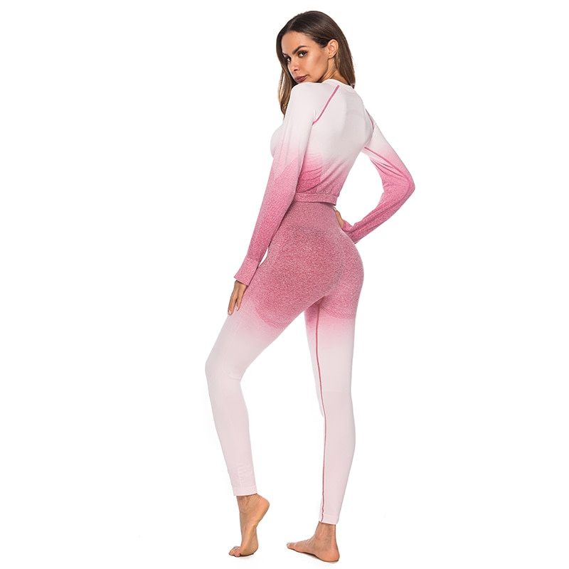 Seamless High Waist Quick-Drying Breathable Stretch Sets Fitness Push Up Female 2 Piece Set Gradient Color Elastic Clothes Sets 27