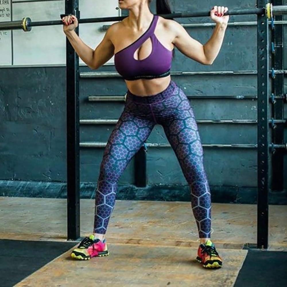 New Sports Leggings, Women's Sportswear Purple Honeycomb Pattern, Polyester High Waist Leggings 8