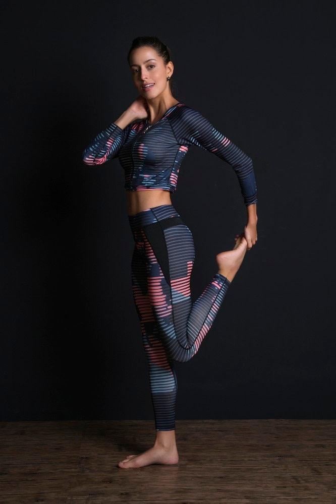 New Sport Suit Print Fitness Suit Leggings Breathable Yoga Set 2 Piece Zipper Sportswear T-shirt Sport Pants Tracksuit For Women 8