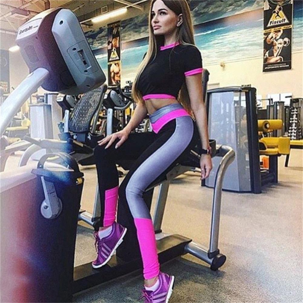 2Pcs Womens Compression Fitness Leggings Running Sport Short Sleeve Yoga Set Gym Workout Wear Top Pants Yoga Suit 4