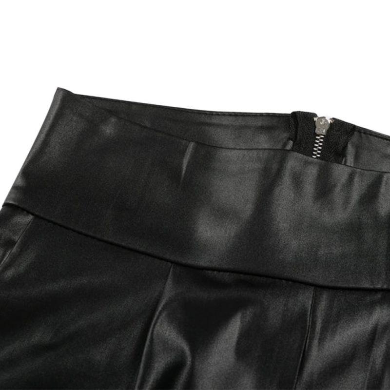 Black Sexy Women's Leggings, Thin Faux Leather Stretchy Leggings, Back Zipper Push Up Leggings 8