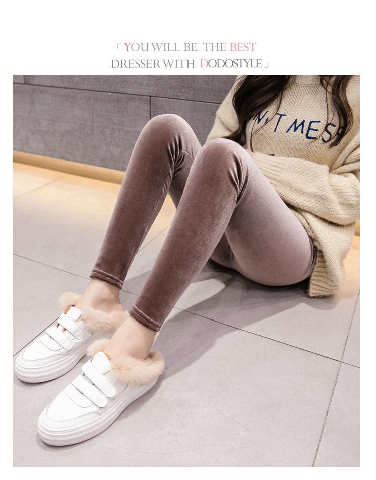 New Velour Thin Women's Leggings, Solid Color, High Waist Fashion Leggings 29