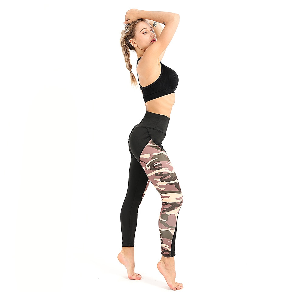 Leggings Women's Polyester Camouflage Push Up Leggings, Fitness Pants, Workout Activewear Clothing 32