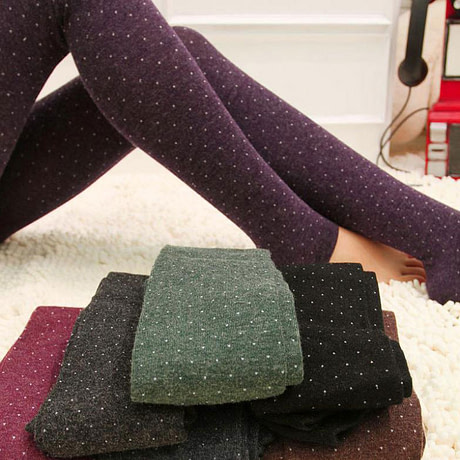 Women's Cotton Wool Leggings, Thicker Knitted, Sparkling Dot Design Autumn Legging 1