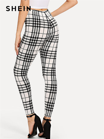 Women's Black And White Fashion High Street Plaid, High Waist Leggings, Women's Elegant Fashion Leggings Trousers 2