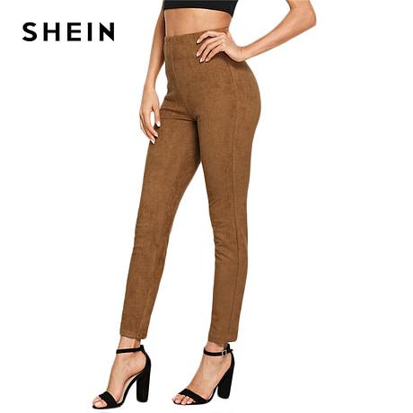 Brown Elegant Office Lady Solid Suede Leggings, 2018  High Street, Women, Pants 4