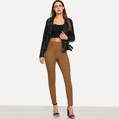 Brown Elegant Office Lady Solid Suede Leggings, 2018  High Street, Women, Pants