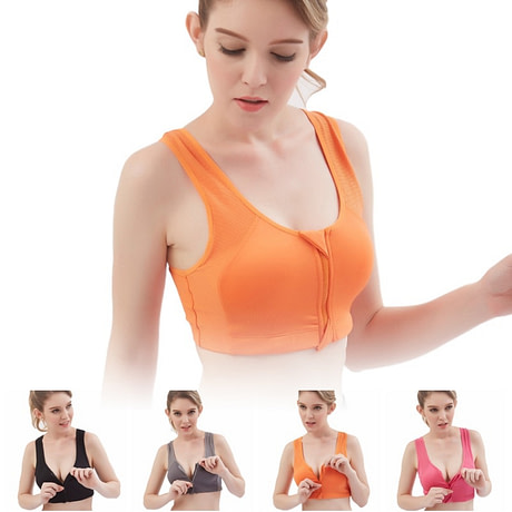Women's Sport Bra, Wire Free, Front Zipper, Push Up, Shockproof Seamless Padded Stretch Tank Top 5