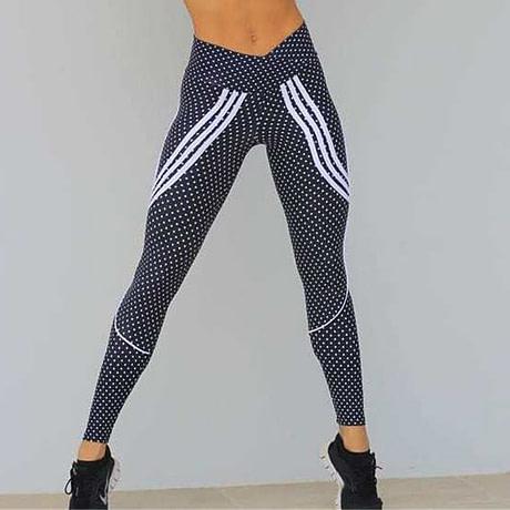 2 Styles, Women's Spot Printing , High Waist Leggings, Sportswear Elastic Force  Leggings 2