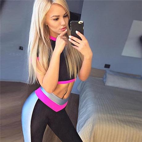 2Pcs Womens Compression Fitness Leggings Running Sport Short Sleeve Yoga Set Gym Workout Wear Top Pants Yoga Suit 1