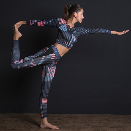New Sport Suit Print Fitness Suit Leggings Breathable Yoga Set 2 Piece Zipper Sportswear T-shirt Sport Pants Tracksuit For Women 1