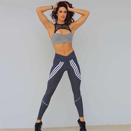 2 Styles, Women's Spot Printing , High Waist Leggings, Sportswear Elastic Force  Leggings 5