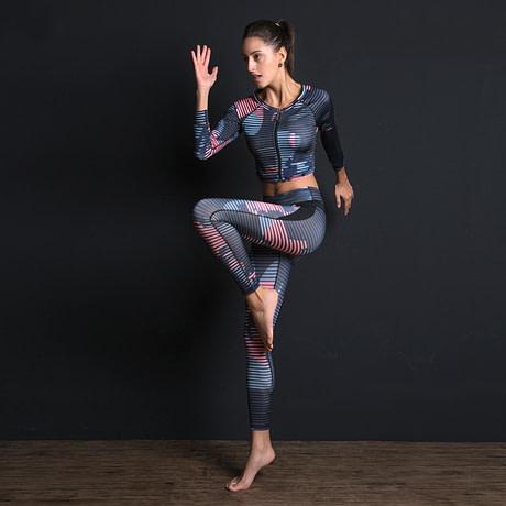 New Sport Suit Print Fitness Suit Leggings Breathable Yoga Set 2 Piece Zipper Sportswear T-shirt Sport Pants Tracksuit For Women 3