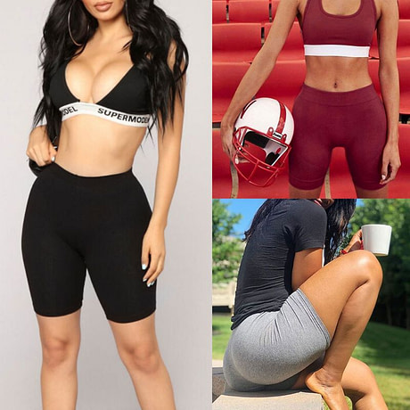 Women's Sport Fitness Leggings, Above Knee, High Waist, Workout Or Bike Shorts