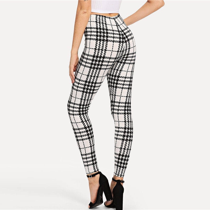 Women's Black And White Fashion High Street Plaid, High Waist Leggings, Women's Elegant Fashion Leggings Trousers 16