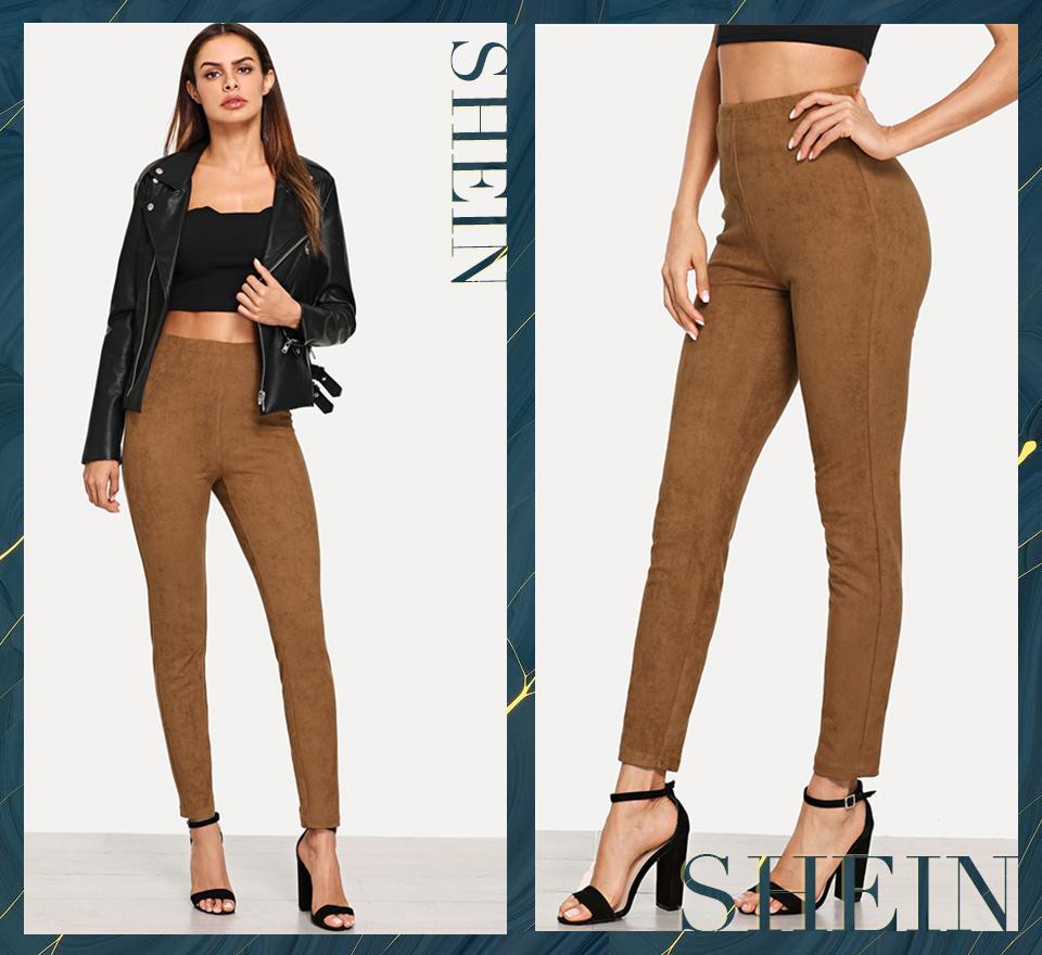 Brown Elegant Office Lady Solid Suede Leggings, 2018 High Street, Women, Pants 14