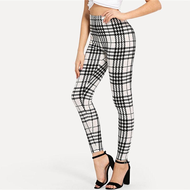 Women's Black And White Fashion High Street Plaid, High Waist Leggings, Women's Elegant Fashion Leggings Trousers 17